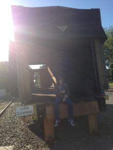 In old railway car (L.E. Swenson)